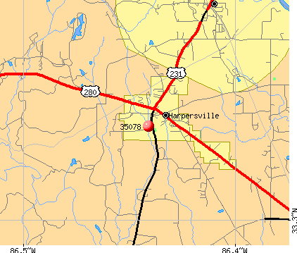 Harpersville, AL (35078) map