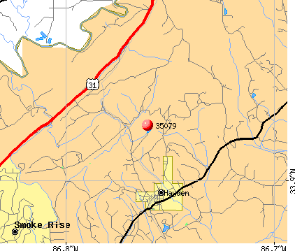 Hayden, AL (35079) map