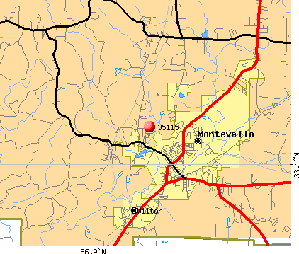 Montevallo, AL (35115) map