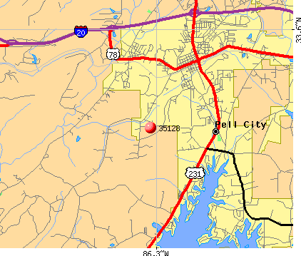 Pell City, AL (35128) map