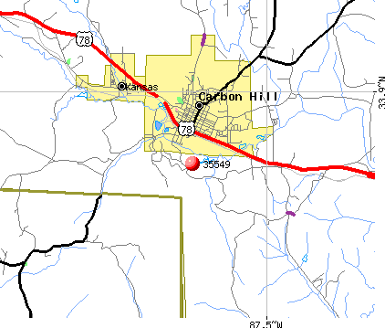 Carbon Hill, AL (35549) map