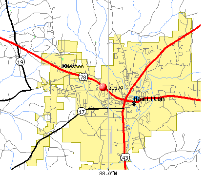 Hamilton, AL (35570) map