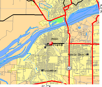 Sheffield, AL (35660) map