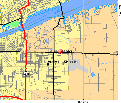 Muscle Shoals, AL (35661) map
