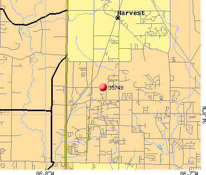 Harvest, AL (35749) map