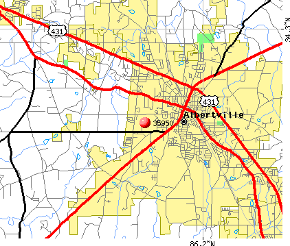 Albertville, AL (35950) map