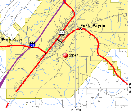 Fort Payne, AL (35967) map