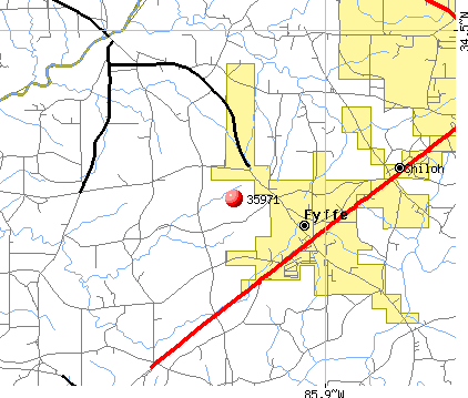 Fyffe, AL (35971) map