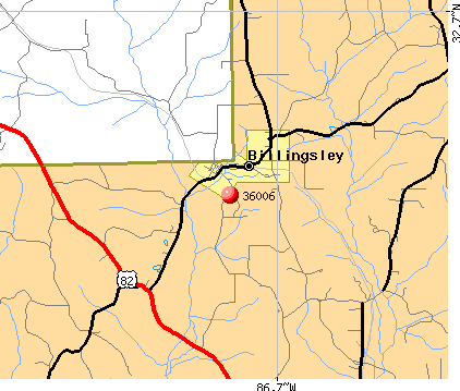 Billingsley, AL (36006) map