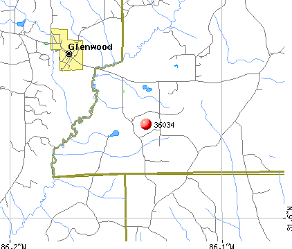 Glenwood, AL (36034) map