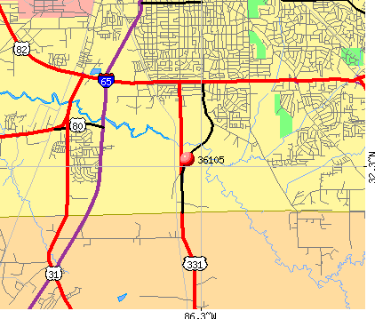 Montgomery, AL (36105) map