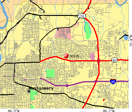 Montgomery, AL (36109) map