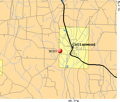 Cottonwood, AL (36320) map