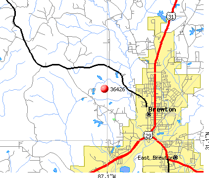 Brewton, AL (36426) map