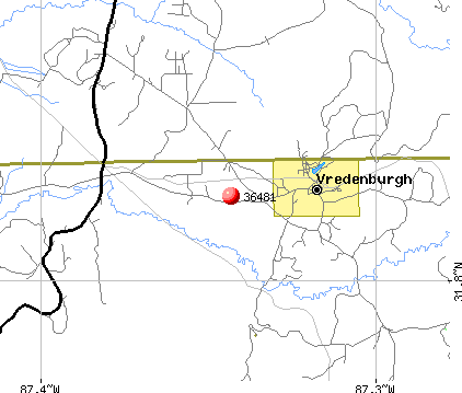 Vredenburgh, AL (36481) map