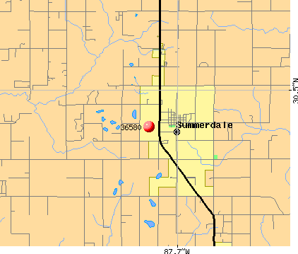 Summerdale, AL (36580) map