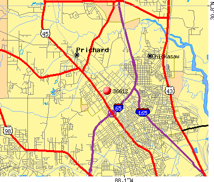 Prichard, AL (36612) map