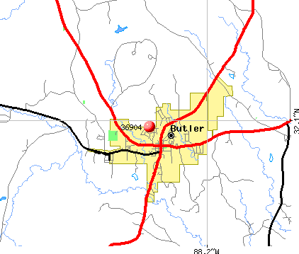 Butler, AL (36904) map