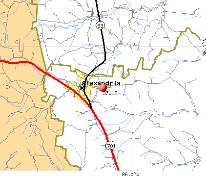 Alexandria, TN (37012) map