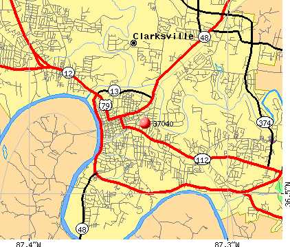 Clarksville, TN (37040) map