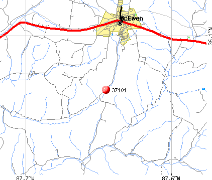 McEwen, TN (37101) map