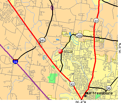 Murfreesboro, TN (37129) map