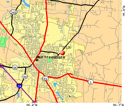 Murfreesboro, TN (37130) map