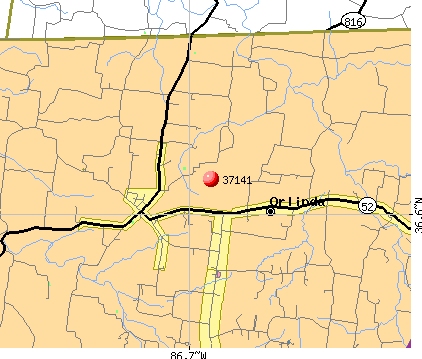 Orlinda, TN (37141) map