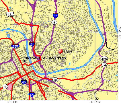 Nashville-Davidson, TN (37206) map