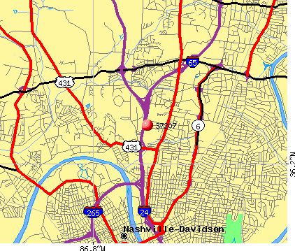Nashville-Davidson, TN (37207) map