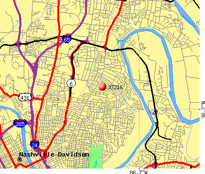 Nashville-Davidson, TN (37216) map