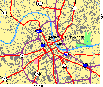 Nashville-Davidson, TN (37219) map