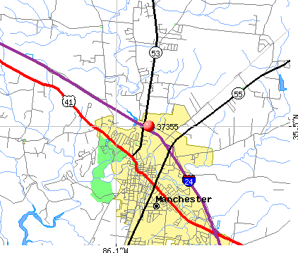 Manchester, TN (37355) map