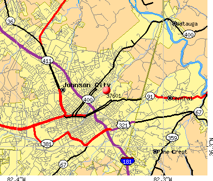 Johnson City, TN (37601) map