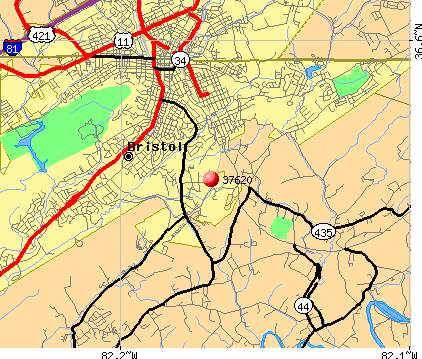 Bristol, TN (37620) map