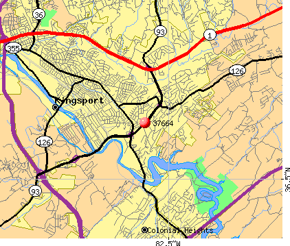 Kingsport, TN (37664) map