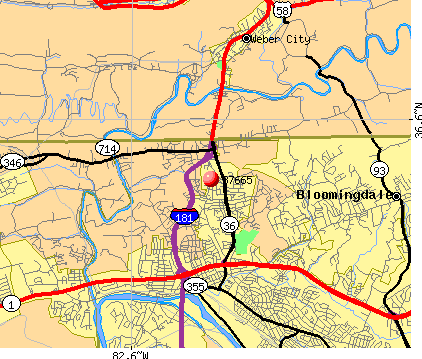 Kingsport, TN (37665) map