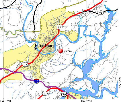 Harriman, TN (37748) map