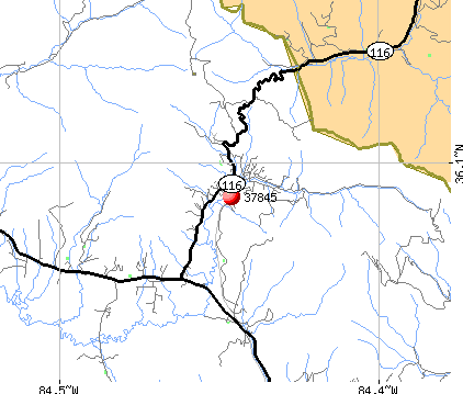 Petros, TN (37845) map