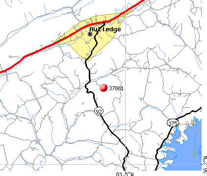 Rutledge, TN (37861) map