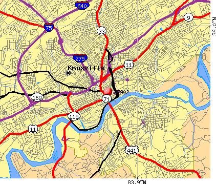 Knoxville, TN (37902) map