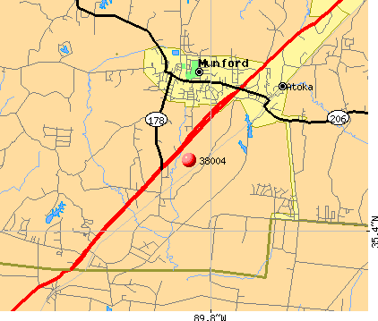 Atoka, TN (38004) map