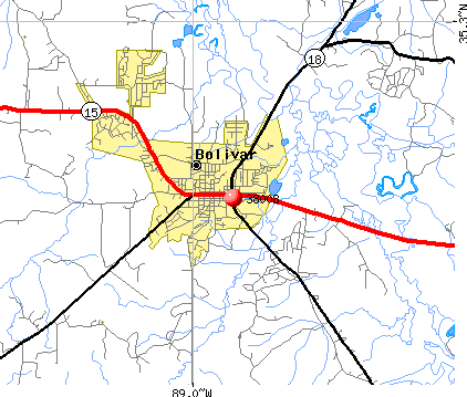 Bolivar, TN (38008) map