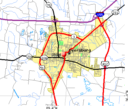 Dyersburg, TN (38024) map