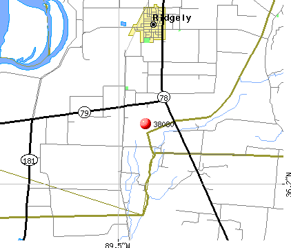 Ridgely, TN (38080) map
