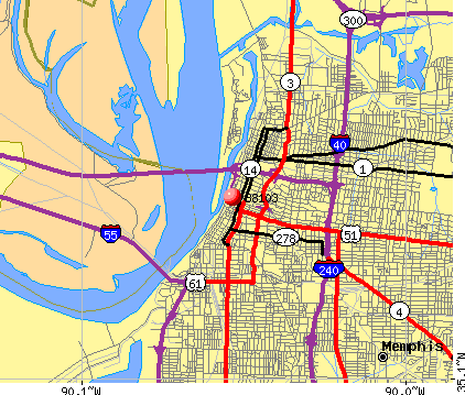 Memphis, TN (38103) map
