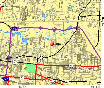 Memphis, TN (38108) map