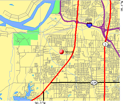 Memphis, TN (38109) map