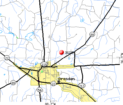 Dresden, TN (38225) map