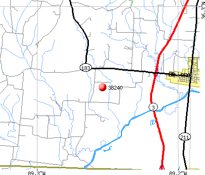 Obion, TN (38240) map